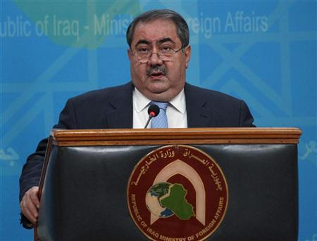 Iraqi Foreign Minister Hoshiyar Zebari speaks during a news conference in the headquarters of the foreign ministry in Baghdad July 5, 2012. REUTERS/Saad Shalash