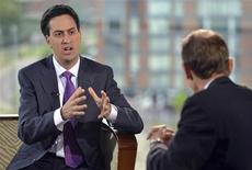 The leader of Britain's opposition Labour Party, Ed Miliband, speaks on the BBC's Andrew Marr Show during the Labour Party annual conference in Manchester, northern England September 30, 2012. REUTERS/JeffOvers/BBC/Handout