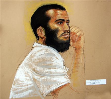 In this photo of a sketch by courtroom artist Janet Hamlin, Canadian defendant Omar Khadr attends a hearing in the courthouse for the U.S. military war crimes commission at the Camp Justice compound on Guantanamo Bay U.S. Naval Base in Cuba, April 28, 2010. REUTERS/Janet Hamlin/Pool