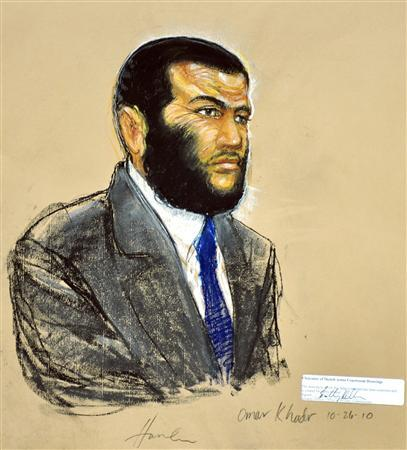 A courtroom sketch shows defendant Omar Khadr, a native of Toronto, Canada, listening to testimony during his sentencing hearing at the Guantanamo Bay Naval Base in Cuba, in this sketch from October 26, 2010. REUTERS/Janet Hamlin/Pool/Files