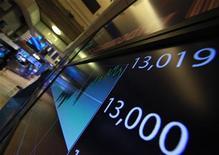 Табло с индексом Dow Jones на бирже в Нью-Йорке, 28 февраля 2012 года. Американские акции начали октябрь небольшим ростом благодаря неожиданному повышению производственной активности в США в сентябре. REUTERS/Brendan McDermid