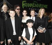 """Director and producer Tim Burton (3rd L) poses with cast members (from L-R) Martin Landau, Charlie Tahan, Winona Ryder, Atticus Shaffer, Martin Short and Catherine O'Hara at the premiere of """"Frankenweenie"""" at El Capitan theatre in Hollywood, California September 24, 2012. The movie opens in the U.S. on October 5. REUTERS/Mario Anzuoni"""