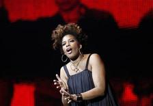 """Macy Gray performs during multimedia performance directed by Robert Wilson titled """"Solidarity. Freedom is the Name of Your Angel!"""" at Gdansk Shipyard August 31, 2010. REUTERS/Peter Andrews"""