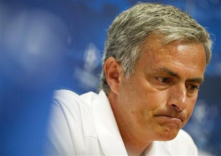 Real Madrid's coach Jose Mourinho speaks during a news conference at the Amsterdam Arena stadium October 2, 2012. REUTERS/Robin van Lonkhuijsen/United Photos