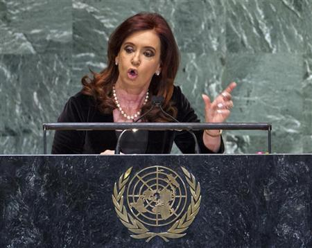 Argentina's President Cristina Fernandez addresses the 67th session of the United Nations General Assembly at UN headquarters in New York, September 25, 2012. REUTERS/Ray Stubblebine
