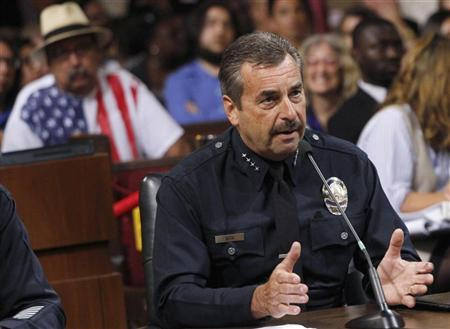 Los Angeles Police Chief Charlie Beck addresses the Los Angeles City Council during a public discussion regarding a proposed ban on medical marijuana dispensaries in Los Angeles, California, July 24, 2012. REUTERS/Jonathan Alcorn