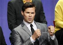 """Cast member Andrew Rannells speaks at a panel for """"The New Normal"""" during the NBC television network portion of the Television Critics Association Summer press tour in Beverly Hills, California July 24, 2012. REUTERS/Mario Anzuoni"""