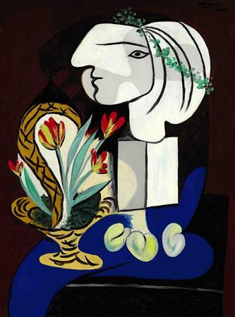 Pablo Picasso's ''Nature morte aux tulipes'', an oil on canvas painted in March 1932 is seen in this handout photo. REUTERS/Sothesby's/Handout