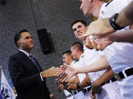 Republican presidential nominee Mitt Romney shakes hands with cadets after his foreign policy speech at the Virginia Military Institute in Lexington, Virginia October 8, 2012. REUTERS/Shannon Stapleton