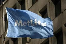 A MetLife flag is pictured outside the MetLife building in New York, January 31, 2005. REUTERS/Chip East CME
