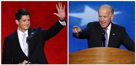 Vice President Joe Biden (R) speaking in Charlotte, North Carolina September 6, 2012, and Republican vice-presidential nominee Paul Ryan, speaking in Tampa, Florida, August 29, 2012, are shown in this combination photo. REUTERS/Mike Segar (L)/Jason Reed (R)