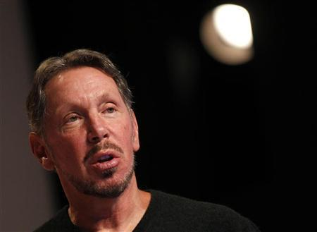 Oracle CEO Larry Ellison speaks at the company's headquarters in Redwood City, California June 6, 2012. REUTERS/Robert Galbraith