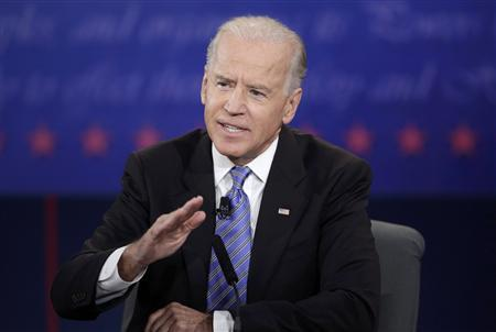 U.S. Vice President Joe Biden answes a question during the vice presidential debate with Republican vice presidential nominee Paul Ryan (not pictured) in Danville, Kentucky, October 11, 2012. REUTERS/John Gress