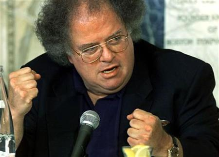 James Levine talks about the power of symphonies after being announced as the next conductor and music director of The Boston Symphony Orchestra October 29, 2001 at a news conference at Symphony Hall in Boston.