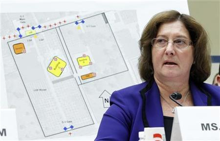 Charlene Lamb, deputy assistant secretary for International Programs in the Bureau of Diplomatic Security at the U.S. Department of State displays a map of the U.S. Consulate compound in Benghazi, as she testifies about the September 11, 2012 attack on the consulate, on Capitol Hill in Washington D.C. October 10, 2012. REUTERS/Jose Luis Magana