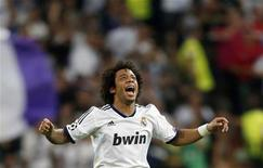 <p>مارسيلو خلال مباراة لريال مدريد في العاصمة الاسبانية يوم 18 سبتمبر ايلول 2012. تصوير. سيرجيو بيريز - رويترز</p>