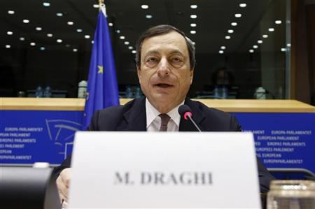 European Central Bank (ECB) President Mario Draghi speaks at the European Parliament's Economic and Monetary Affairs Committee in Brussels October 9, 2012. REUTERS/Francois Lenoir