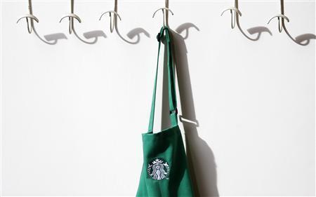 A barrista's apron hangs on a peg in Starbucks' Mayfair Vigo Street branch in central London September 12, 2012. Picture taken September 12, 2012. REUTERS/Andrew Winning