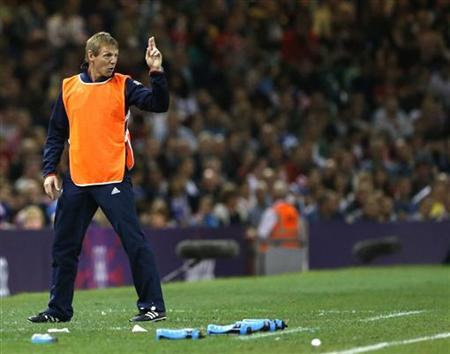 Britain coach Stuart Pearce at Millennium Stadium in Cardiff August 4, 2012. REUTERS/Francois Lenoir/Files