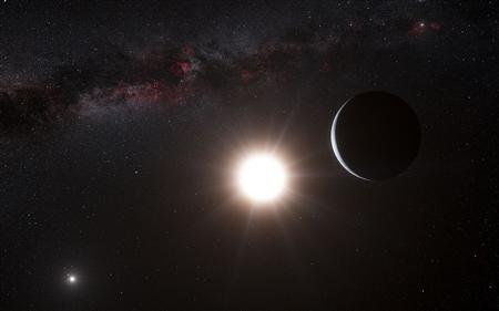 This artist's impression shows the planet orbiting the star Alpha Centauri B, a member of the triple star system that is the closest to Earth in this image released on October 17, 2012. REUTERS/ESO/L. Calcada/N. Risinger (skysurvey.org)/Handout