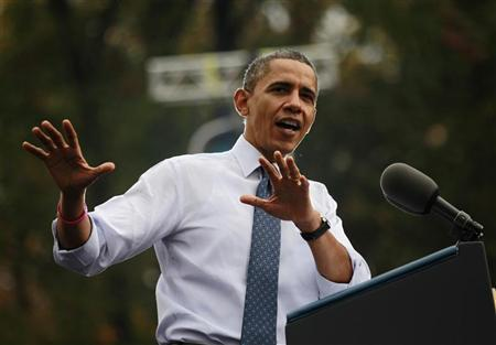 U.S. President Barack Obama speaks during a campaign rally at George Mason University in Fairfax, Virginia, October 19, 2012. REUTERS/Jason Reed