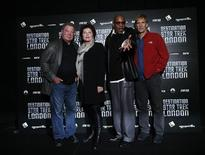 """(L-R) William Shatner, Kate Mulgrew, Avery Brooks and Scott Bakula, who played Star Trek captains, pose for photographers at the """"Destination Star Trek London"""" event in London October 19, 2012. REUTERS/Suzanne Plunkett"""