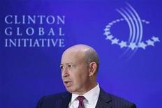 """Lloyd Blankfein, Chairman and CEO of Goldman Sachs, participates in a group discussion on """"Business by Design: Business with Integrity"""" during the second day of the Clinton Global Initiative 2012 (CGI) in New York on September 24, 2012. REUTERS/Lucas Jackson"""
