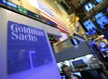 A Goldman Sachs sign is seen at the company's post on the floor of the New York Stock Exchange, in this January 18, 2012 file photograph. REUTERS/Brendan McDermid/Files