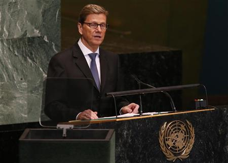 German Foreign Minister Guido Westerwelle addresses the 67th session of the United Nations General Assembly at U.N. headquarters in New York, September 28, 2012. REUTERS/Mike Segar