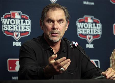 San Francisco Giants manager Bruce Bochy talks with the media during a news conference at Comerica Park in Detroit, Michigan October 26, 2012. REUTERS/Rebecca Cook