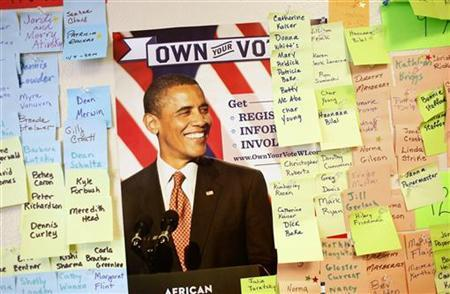 The walls are lined with the upcoming weekends canvassing efforts at the North Shore Obama for America office in Glendale, Wisconsin, October 31, 2012. REUTERS/Darren Hauck