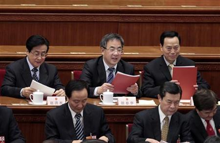 Hu Chunhua (top C), Communist Party chief of north China's Inner Mongolia Autonomous Region, attends the closing ceremony of the National People's Congress (NPC) at the Great Hall of the People in Beijing March 14, 2012. REUTERS/Jason Lee