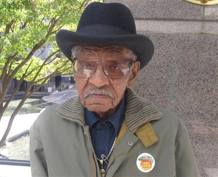 WW II veteran William S. Benford, 93, is shown after voting in Atlanta, Georgia in this handout photo courtesy of the Benford family October 24, 2012. Benford, born in rural Georgia and raised by foster parents does not have a birth certificate and has never had a driver's license. Although he is a long time registered voter and tried to vote absentee, his ballot was returned inexplicably. Photo taken October 24, 2012. REUTERS/Tarrence Brown/Handout