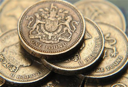 A pile of one pound coins is seen, in central London June 17, 2008. REUTERS/Toby Melville