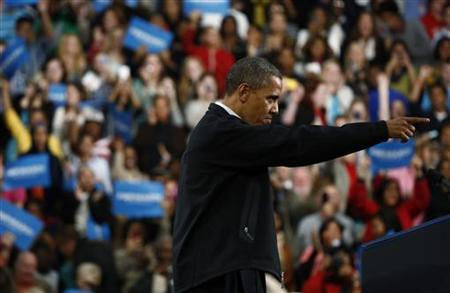 U.S. President Barack Obama gestures during in a campaign rally at Springfield High School in Ohio, November 2, 2012. REUTERS/Jason Reed
