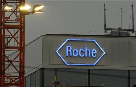 The logo of Swiss pharmaceutical company Roche is seen at the company's headquarters in Basel April 5, 2012. REUTERS/Arnd Wiegmann/Files