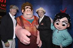 """Actor Will Ferrell (L) and cast member John C. Reilly attend the premiere of the animated film """"Wreck-It Ralph"""" in Los Angeles October 29, 2012. REUTERS/Phil McCarten"""