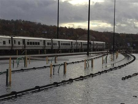 Flooding at Metro-North's Harmon Yard on the Hudson Line is seen in the aftermath of Hurricane Sandy, in New York in this MTA handout photo taken on October 30, 2012. REUTERS/MTA/Handout