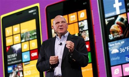 Microsoft CEO Steve Ballmer speaks during the launch of Windows Phone 8 in San Francisco, California October 29, 2012. REUTERS/Robert Galbraith