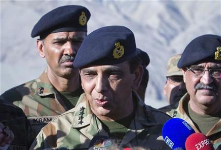 Pakistan's Army Chief General Ashfaq Kayani speaks to the media in Skardu, northen Pakistan after visiting the site of an avalanche in Gayari camp near the Siachen glacier April 18, 2012. REUTERS/Faisal Mahmood