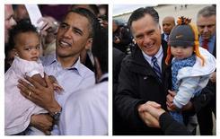 Uma justaposição de fotos de arquivo mostra o presidente dos EUA, Barack Obama (esquerda), carregando um bebê em Jamestown, Carolina do Norte, e o candidato Republicano à presidência, Mitt Romney (direita), com um bebê em Newington, New Hampshire. 18/10/2011, 3/11/2012 REUTERS/Jason Reed, Brian Snyder