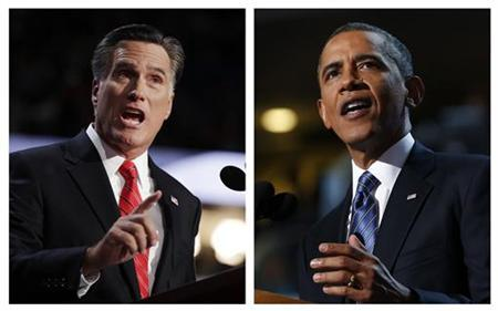 A combination file photos show Republican presidential nominee Mitt Romney (L) and U.S. President Barack Obama speaking at the Republican National Convention in Tampa, Florida on August 30, 2012 and at the Democratic National Convention in Charlotte, North Carolina, September 6, 2012 respectively. REUTERS/Shannon Stapleton , Jim Young/Files