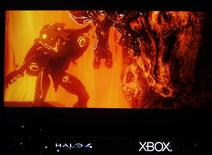 "A scene from the new version of the Halo video game ""Halo 4"" is previewed at the Microsoft XBox news briefing during the E3 game expo in Los Angeles, California June 4, 2012. REUTERS/Fred Prouser"