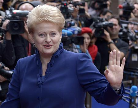 Lithuania's President Dalia Grybauskaite arrives to attend an EU summit at the European Council headquarters in Brussels October 18, 2012. REUTERS/Eric Vidal