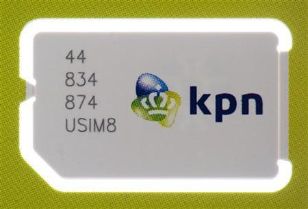 A sim card by Dutch telecoms group KPN is seen in Haarlem May 31, 2012. REUTERS/Paul Vreeker/United Photos