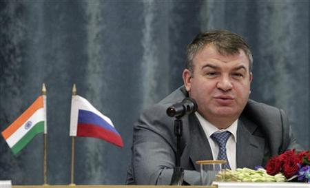 Anatoly Serdyukov speaks during a news conference in New Delhi October 10, 2012. REUTERS/B Mathur