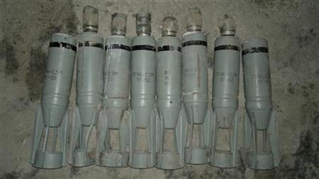 Cluster bombs, which activists say were fired by a Syrian Air Force fighter jet loyal to Syria's President Bashar al-Assad, are displayed at Sowran near Aleppo October 30, 2012. REUTERS/Abu Omar/Shaam News Network/Handout