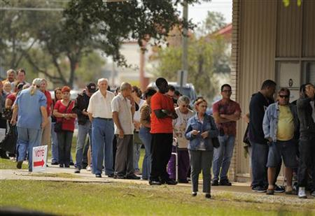 People wait to vote at the St. John's Episcopal Church during the U.S. presidential election in Kissimmee, Florida, November 6, 2012. REUTERS/Scott A. Miller