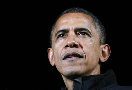 U.S. President Barack Obama appears with tears on his cheek during remarks at his final presidential campaign rally in Des Moines, Iowa, November 5, 2012, on the eve of the U.S. presidential elections. REUTERS-Jason Reed