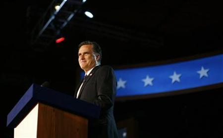 Republican presidential nominee Mitt Romney delivers his concession speech during his election night rally in Boston, Massachusetts, November 7, 2012. REUTERS/Eric Thayer